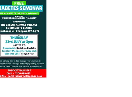 FREE Diabetes Seminar 23/07/2020