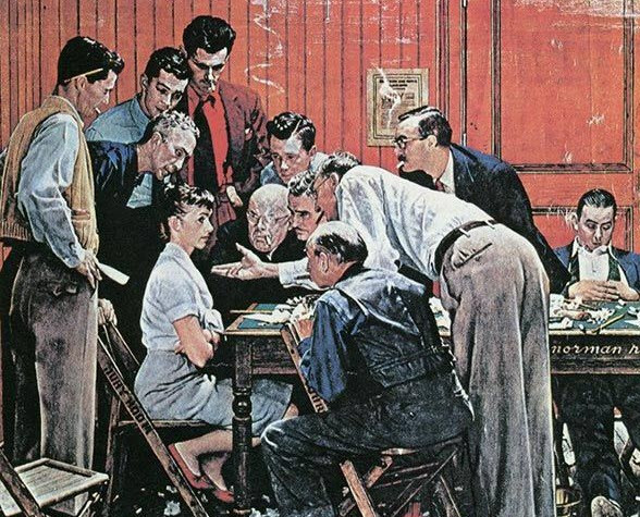 Jury Room, Norman Rockwell. Also known as mansplaining
