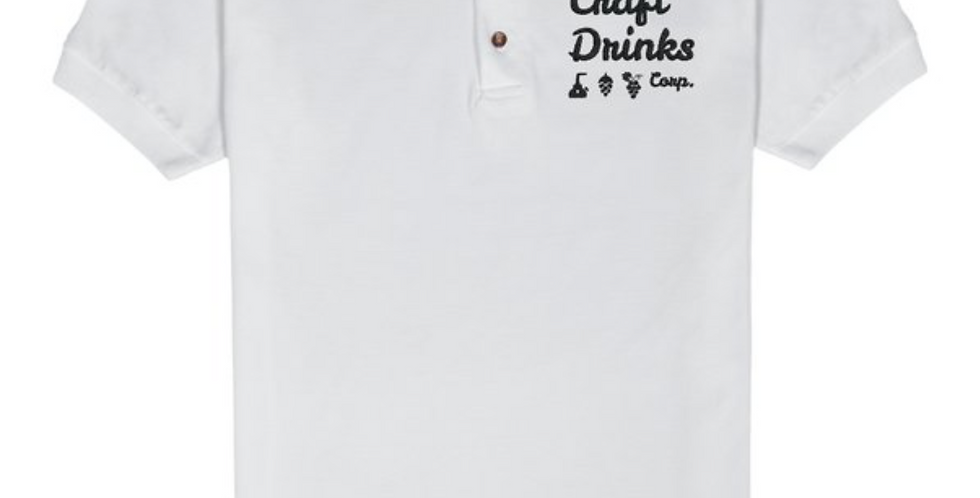 The Craft Drinks Corp. Logo Mens Polo Shirt White