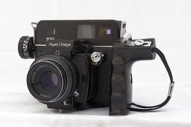 Rapid Omega 100 medium format camera, 90mm Omegon lens - left/front view