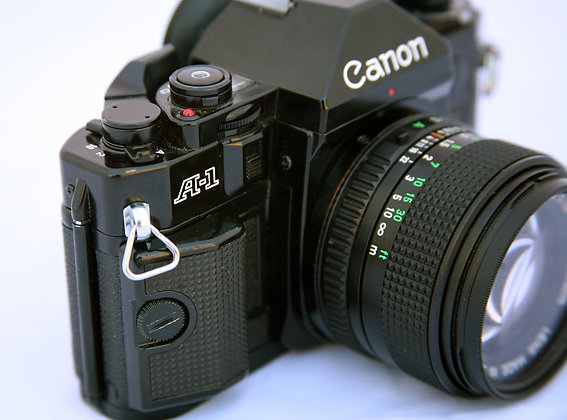 Canon A-1 35mm film camera for sale, front right view