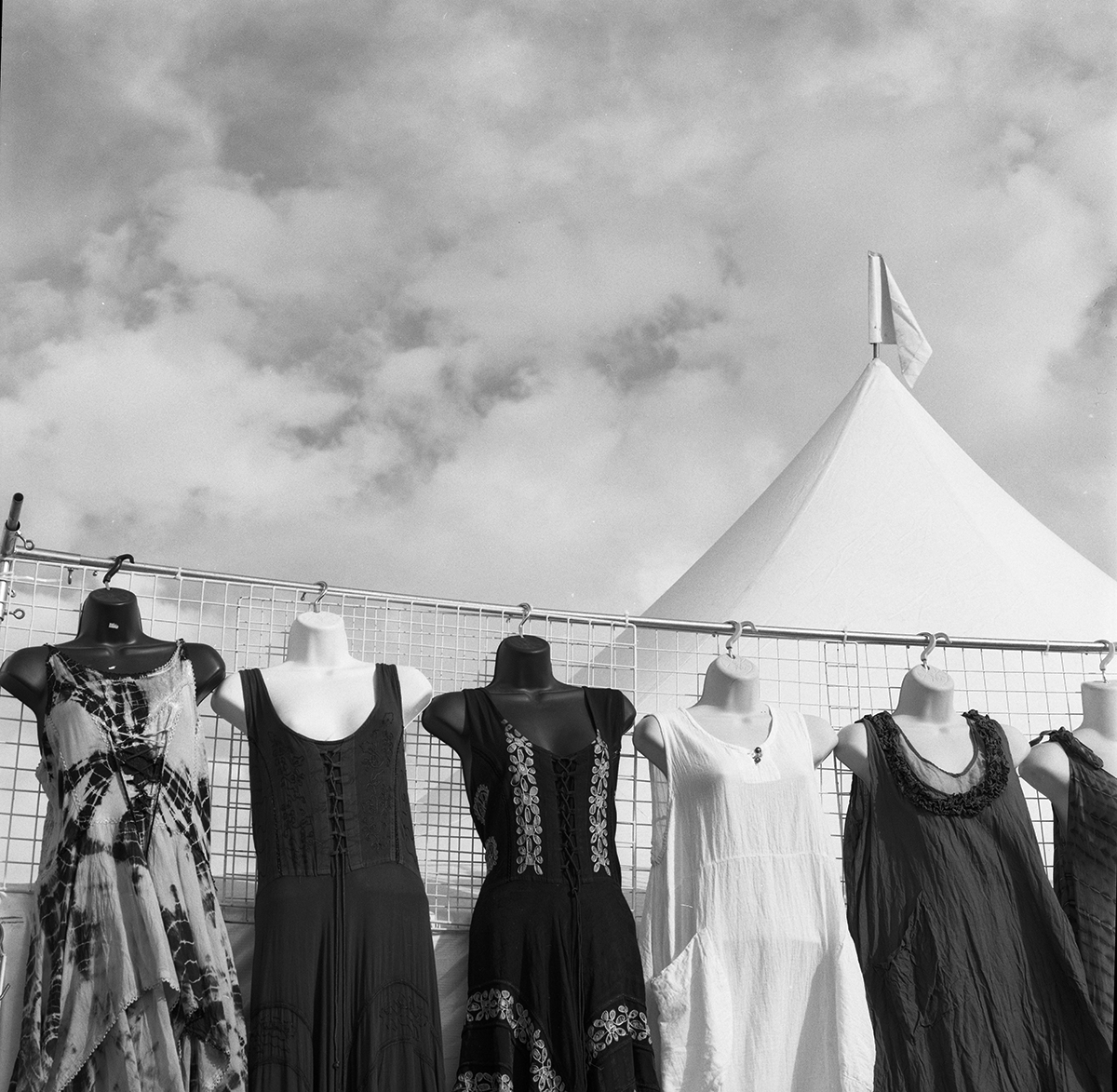 Dresses and tent, Tucson Gem show