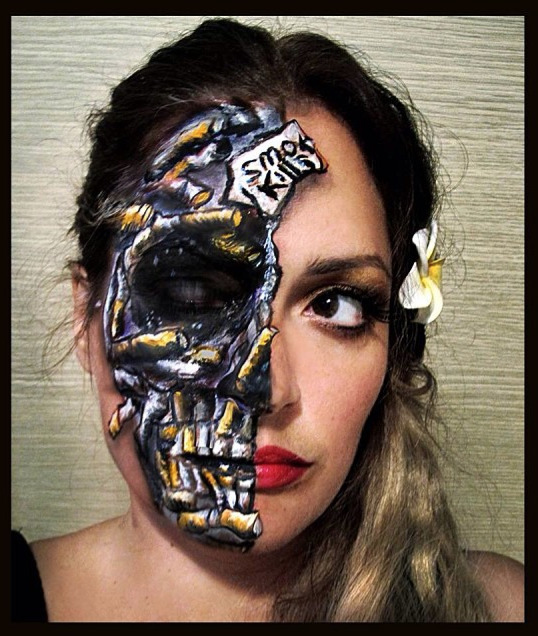 Smoking is ugly!! #facepainting #bodypai