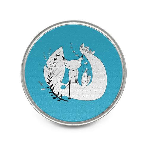 Cute Fox Metal Pin - Blue