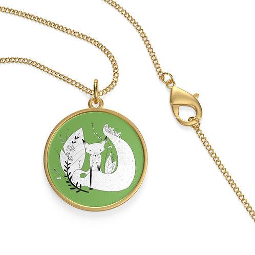 Cute Fox Single Loop Necklace - Green