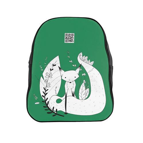 Cute Fox School Backpack - Green
