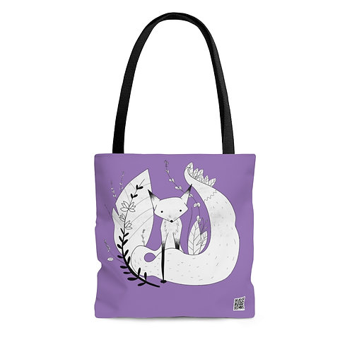 Cute Fox AOP Tote Bag - Purple