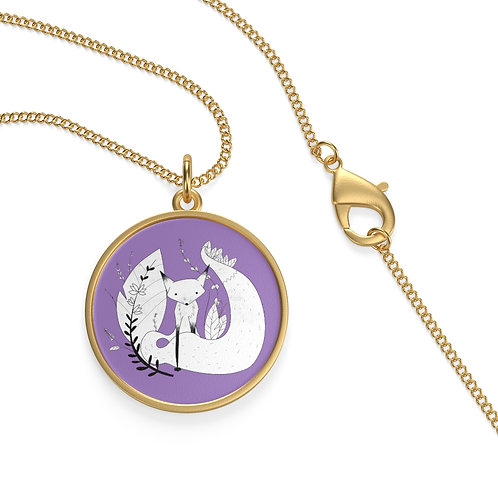 Cute Fox Single Loop Necklace - Purple