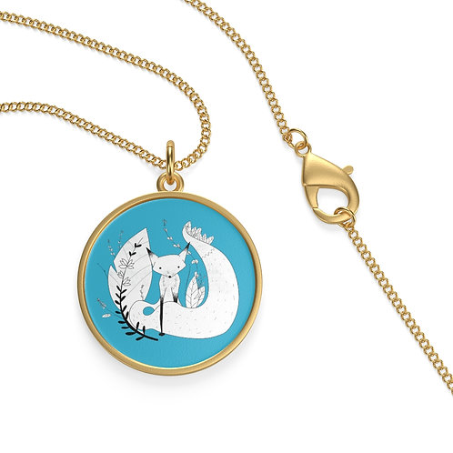 Cute Fox Single Loop Necklace - Blue