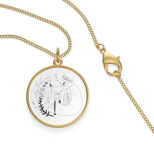 Cute Fox Single Loop Necklace - white