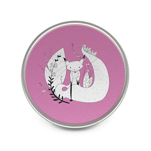 Cute Fox Metal Pin - Pink
