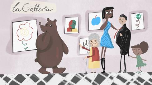 Bear in an art gallery