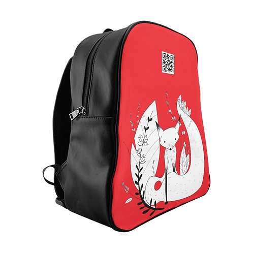 Cute Fox School Backpack - Red