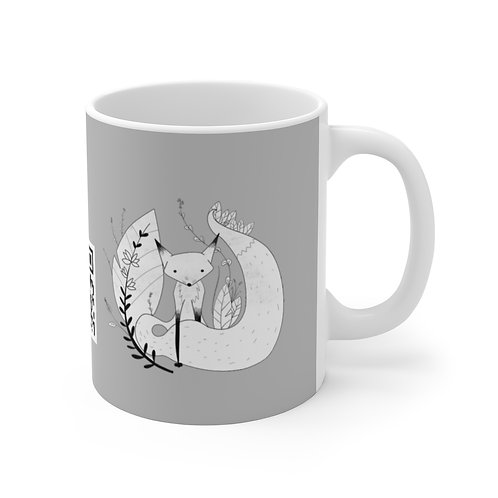 Cute Fox Mug 11oz grey