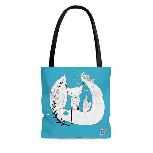 Cute Fox AOP Tote Bag - Blue