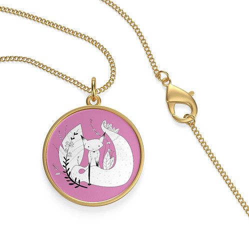 Cute Fox Single Loop Necklace - Pink