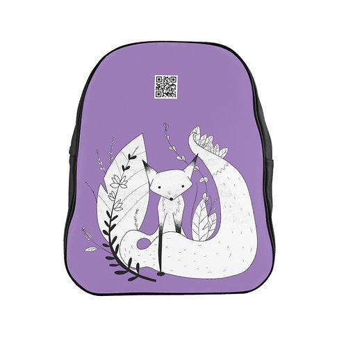 Cute Fox School Backpack - Purple