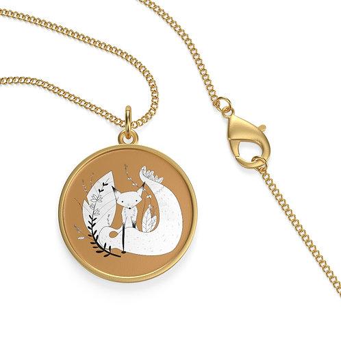 Cute Fox Single Loop Necklace - Mustard