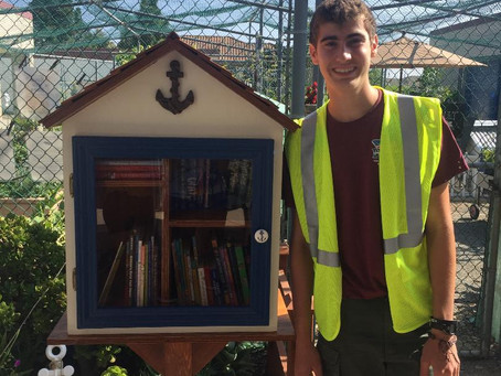Little Free Library in front of the Malcom Garden