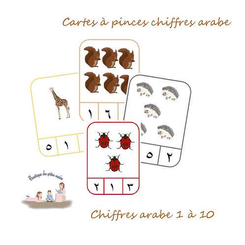 Cartes à pinces chiffres arabe thème animaux