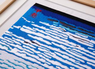 Hokusai hirty-six Views of MT,fuji Red   arrenged version