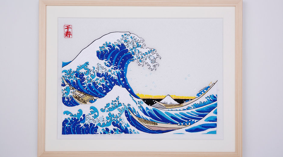 Thirty-six Views of Mt,fuji  The great wave off kanagawa arrenged version