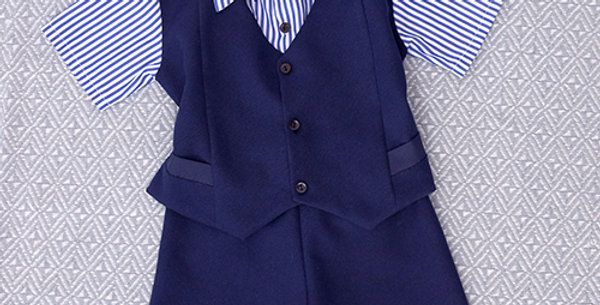 Navy Blue Suit with Striped Short Sleeve Shirt