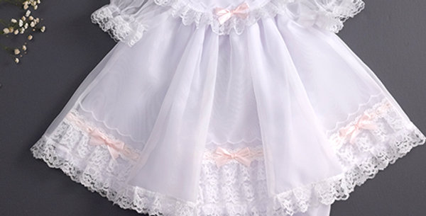 Short White Dress Set with Pink Ribbon