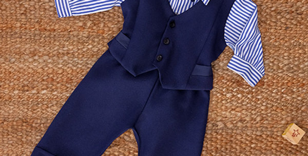 Navy Blue Suit with Striped Long Shirt