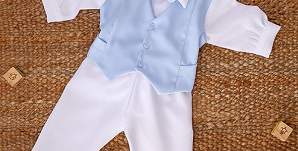 Light Blue Waist Coat with White Long Sleeve Shirt