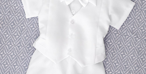 White Suit with White Short Sleeve Shirt