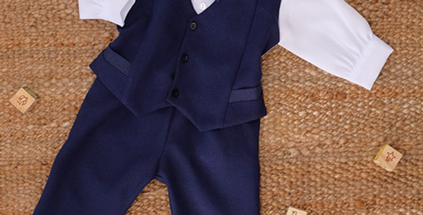 Navy Blue Suit with White Long Sleeve Shirt