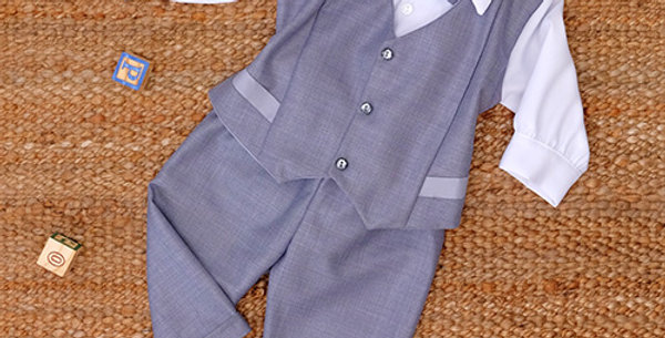 Grey Suit with White Long Sleeve Shirt
