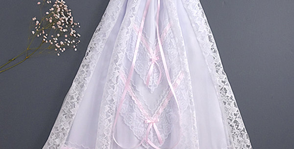 Long White Dress with Pink Ribbon - 85cm