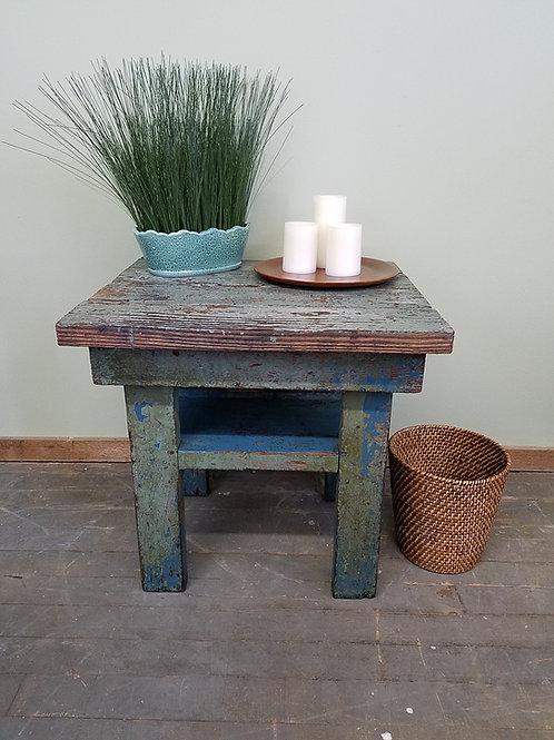 Primitive Green and Blue Antique Farm Table