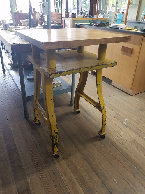 Yellow Industrial Kitchen Island