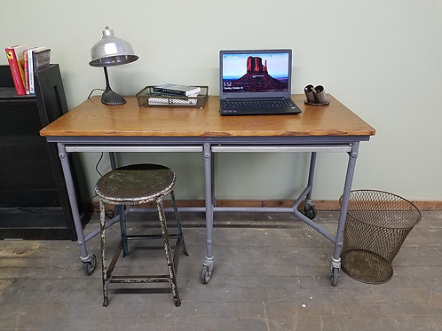 Vintage Library Microfische Industrial Computer Desk or Table