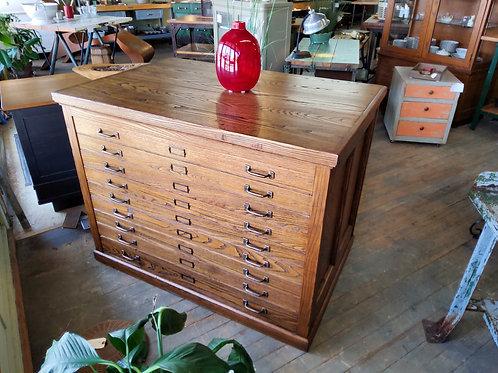 Nine Drawer Oak Cabinet