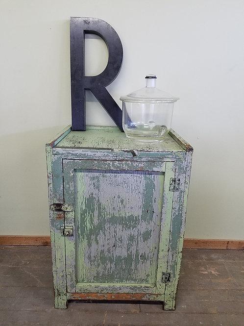 Antique Primitive One Door Green Cabinet