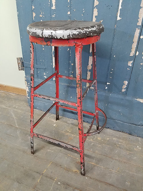 Red Industrial Factory Stool