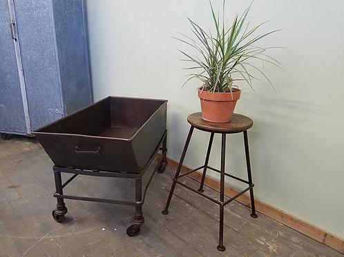 Vintage Industrial Factory Materials Bin Cart w Cast Iron Wheels