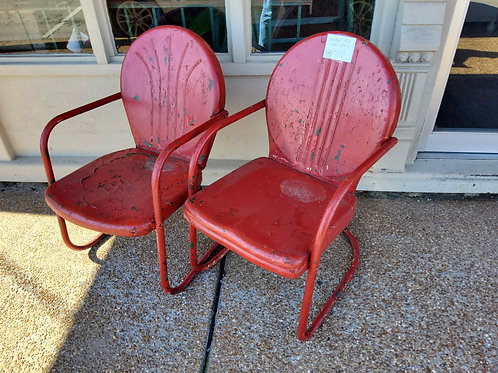 Vintage Red Patio Chairs