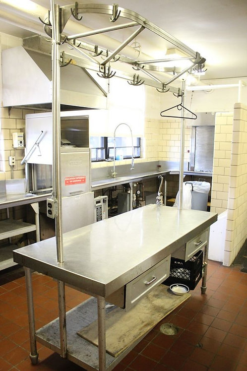 Stainless/ButcherBlock Kitchen Island w Pot Rack