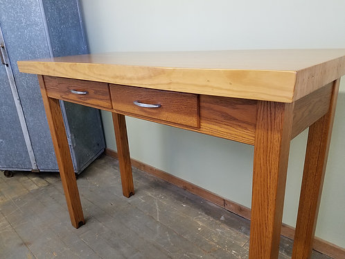 Tall Bowling Alley Butcher Block Top Kitchen Island / Pub Table
