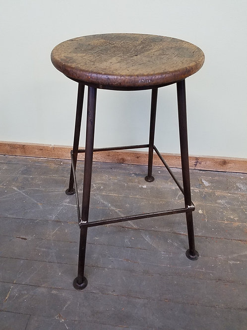Vintage Industrial Factory Stool w Hand Crafted Metal Base