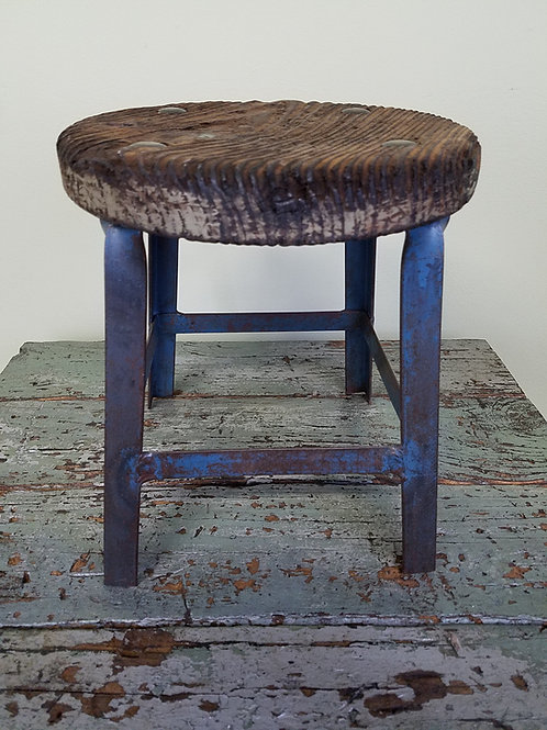 "12"" Industrial Factory Stool with Weathered Oak Seat"