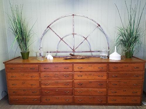11 Ft Antique Industrial Twenty Drawer Merchantile Cabinet