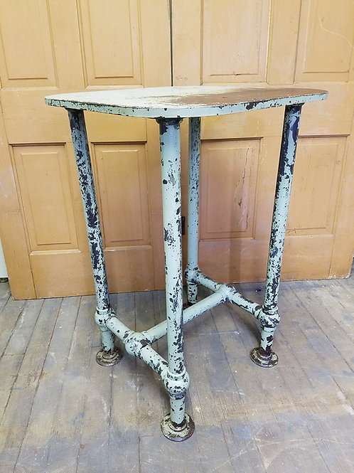 Vintage Industrial Steel Pipe Factory Stand Table