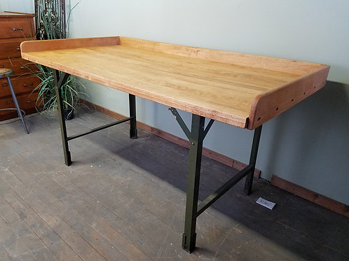 LARGE Vintage Industrial Factory Maple Work Table