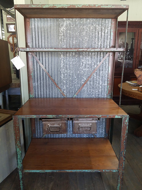 Primitive Industrial Shelving Stand